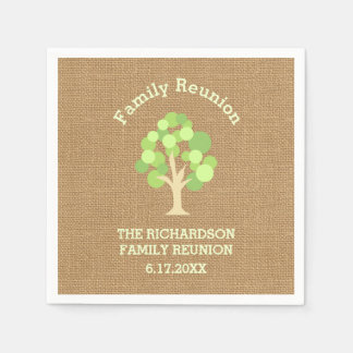 Cute Rustic Green Tree and Burlap Family Reunion Paper Napkin
