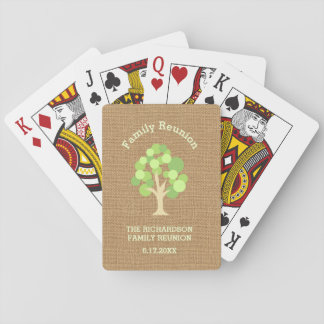 Cute Rustic Green Tree and Burlap Family Reunion Playing Cards