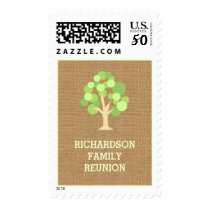 Cute Rustic Green Tree and Burlap Family Reunion Postage