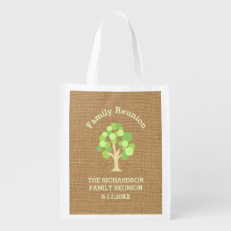 Cute Rustic Green Tree and Burlap Family Reunion Reusable Grocery Bag