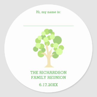 Cute Rustic Green Tree Family Reunion Name Tag Classic Round Sticker