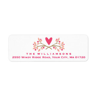 Cute Rustic Heart and Floral Berries Personalized Label