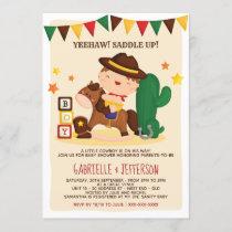 Cute Rustic Little Cowboy Baby Shower Theme Invitation