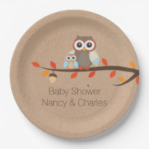 Cute Rustic Owls Baby Shower Plate