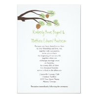 Cute Rustic Pine Cones and Branches Wedding Invite