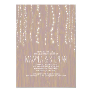 Cute Rustic String of Lights Rehearsal Dinner 5x7 Paper Invitation Card