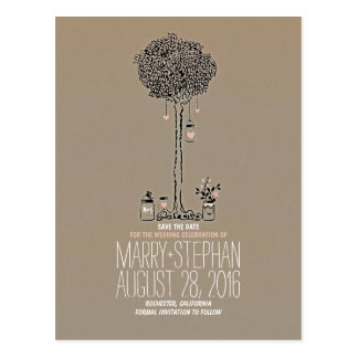 Cute rustic tree & hearts mason jars save the date postcard