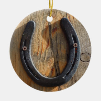 Cute Rustic Western Good Luck Horseshoe Wood Look Double-Sided Ceramic Round Christmas Ornament