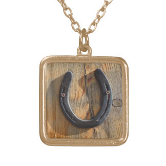Cute Rustic Western Good Luck Horseshoe Wood Look Gold Plated Necklace