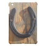 Cute Rustic Western Good Luck Horseshoe Wood Look iPad Mini Case