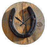 Cute Rustic Western Good Luck Horseshoe Wood Look Large Clock