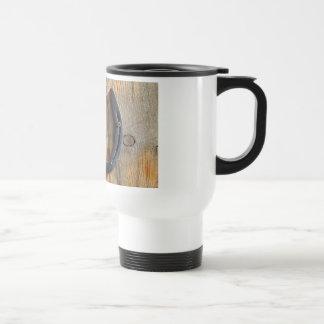 Cute Rustic Western Good Luck Horseshoe Wood Look Coffee Mug