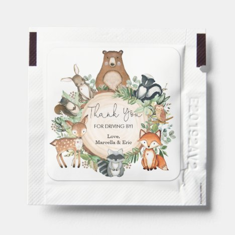 Cute Rustic Woodland Greenery Animals Baby Shower Hand Sanitizer Packet