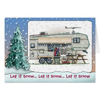 Cute RV Vintage Fifth Wheel Camper Trailer Greeting Card