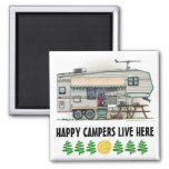 Cute RV Vintage Fifth Wheel Camper Travel Trailer 2 Inch Square Magnet