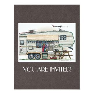 Cute RV Vintage Fifth Wheel Camper Travel Trailer 4.25x5.5 Paper Invitation Card