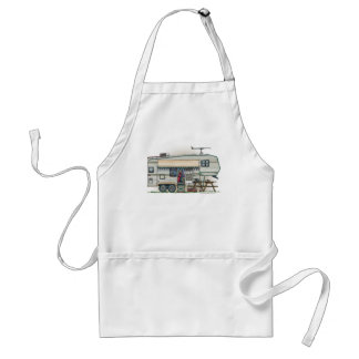 Cute RV Vintage Fifth Wheel Camper Travel Trailer Adult Apron