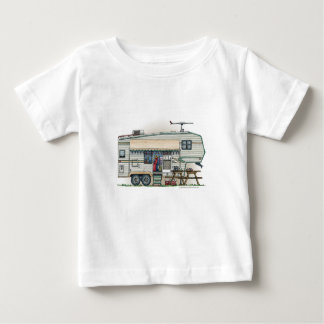 Cute RV Vintage Fifth Wheel Camper Travel Trailer Baby T-Shirt