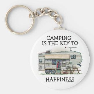 Cute RV Vintage Fifth Wheel Camper Travel Trailer Basic Round Button Keychain