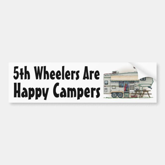 Cute RV Vintage Fifth Wheel Camper Travel Trailer Bumper Sticker