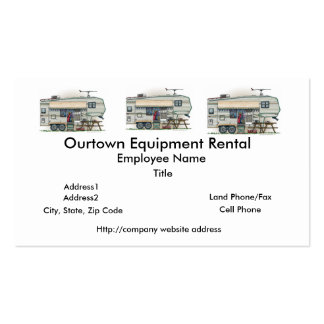 Cute RV Vintage Fifth Wheel Camper Travel Trailer Business Card Template