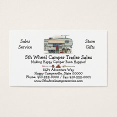 Cute Rv Vintage Fifth Wheel Camper Travel Trailer Business Card at Zazzle