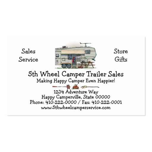 Cute RV Vintage Fifth Wheel Camper Travel Trailer Business Card Templates