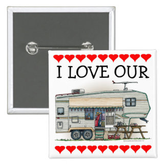 Cute RV Vintage Fifth Wheel Camper Travel Trailer 2 Inch Square Button