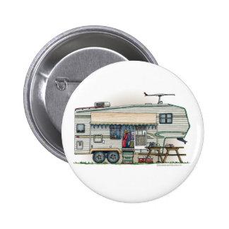 Cute RV Vintage Fifth Wheel Camper Travel Trailer 2 Inch Round Button
