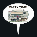 """Cute RV Vintage Fifth Wheel Camper Travel Trailer Cake Topper<br><div class=""""desc"""">Memories of camping last a lifetime! And so do those memories of your fifth wheel camper. These whimsical fifth wheel camper mens hoodies are as cute as they can be:) This fifth wheel vintage camping trailer was designed by artist Richard Neuman. His uniquely styled vintage trailers artwork is collected worldwide....</div>"""
