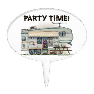 Cute RV Vintage Fifth Wheel Camper Travel Trailer Cake Toppers