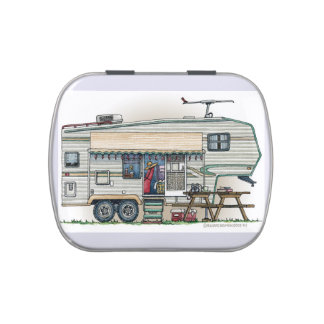 Cute RV Vintage Fifth Wheel Camper Travel Trailer Jelly Belly Candy Tins