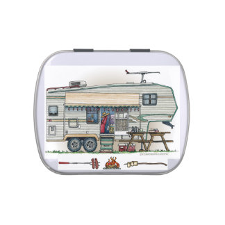 Cute RV Vintage Fifth Wheel Camper Travel Trailer Jelly Belly Tin