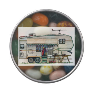 Cute RV Vintage Fifth Wheel Camper Travel Trailer Jelly Belly Candy Tin