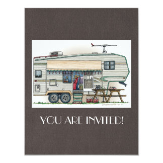 Cute RV Vintage Fifth Wheel Camper Travel Trailer Card