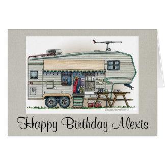 Cute RV Vintage Fifth Wheel Camper Travel Trailer Card