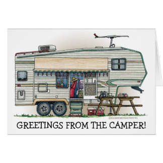 Cute RV Vintage Fifth Wheel Camper Travel Trailer Cards