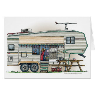 Cute RV Vintage Fifth Wheel Camper Travel Trailer Greeting Cards