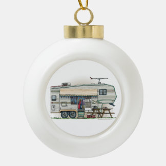 Cute RV Vintage Fifth Wheel Camper Travel Trailer Ceramic Ball Christmas Ornament