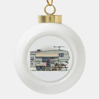 Cute RV Vintage Fifth Wheel Camper Travel Trailer Ceramic Ball Christmas Ornament