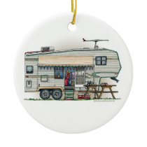 Cute RV Vintage Fifth Wheel Camper Travel Trailer Ceramic Ornament