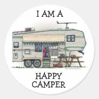 Cute RV Vintage Fifth Wheel Camper Travel Trailer Classic Round Sticker