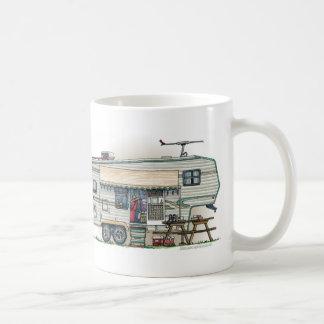 Cute RV Vintage Fifth Wheel Camper Travel Trailer Classic White Coffee Mug