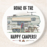 "Cute RV Vintage Fifth Wheel Camper Travel Trailer Coaster<br><div class=""desc"">Memories of camping last a lifetime! And so do those memories of your fifth wheel camper. These whimsical fifth wheel camper coasters are as cute as they can be:) This fifth wheel vintage camping trailer was designed by artist Richard Neuman. His uniquely styled vintage trailers artwork is collected worldwide. You...</div>"