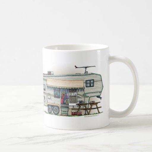 Cute RV Vintage Fifth Wheel Camper Travel Trailer Coffee Mug