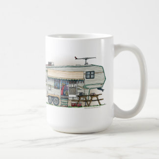 Cute RV Vintage Fifth Wheel Camper Travel Trailer Coffee Mug
