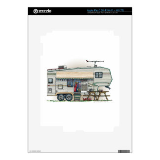 Cute RV Vintage Fifth Wheel Camper Travel Trailer Decal For iPad 3