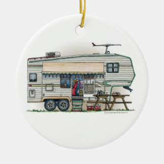 Cute RV Vintage Fifth Wheel Camper Travel Trailer Double-Sided Ceramic Round Christmas Ornament