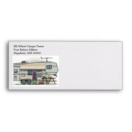 Cute RV Vintage Fifth Wheel Camper Travel Trailer Envelopes