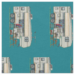 Cute RV Vintage Fifth Wheel Camper Travel Trailer Fabric